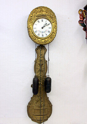 Old Wall Clock Mini Comtoise 2 Weight Chimes clock in brass