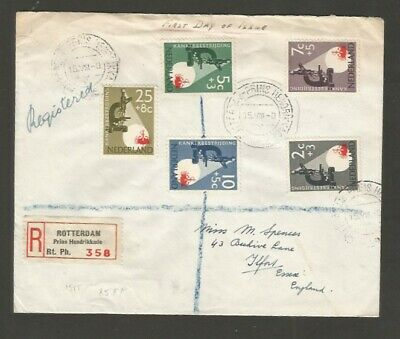 Netherlands To UK Register First Day Cover Multi Franking 5 Stamps