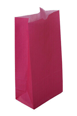 New 500 Large Hot Pink Paper Lunch Bags - 10# SOS (6 9/16 x 4 1/16 x 13 3/16)