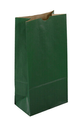 500 Large Forest Green Paper Lunch Bags - 10# SOS (6 9/16 x 4 1/16 x 13 3/16)