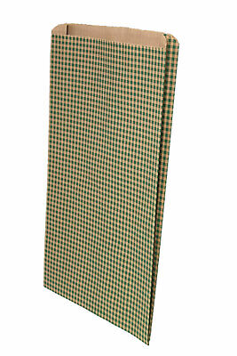 Large Gusseted Green Gingham Paper Bags - 16 x 3.75 x 24