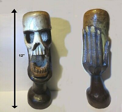 "Low Price! 12"" Hand Holding Skull, Native Tribal Art Carved Wood Sculpture 2 Lbs"