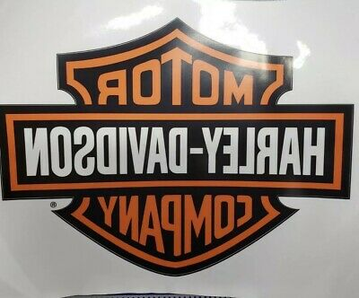 Harley Davidson Orange Bar & Shield Large Trailer Decal WINDOW Sticker
