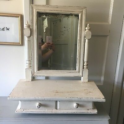 Superb Vintage White French Distressed/Shabby Chic Vanity Mirror with Drawers