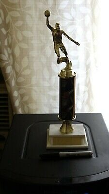 BASKETBALL: Boys Trophy, Faux Marble Base in Plastic, 11 inch tall