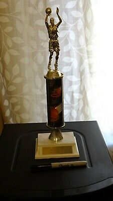 BASKETBALL: Boys Trophy,Boys Steal Leader, Faux Marble Base in Plastic, 11 inch