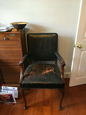 Vintage Leather Throne Chair Library Study Hall Black Leather Dark  Wood Legs