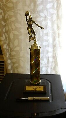 BASKETBALL: Boy Trophy, Boys 2st Place, Faux Marble Base in Plastic, 9 inch