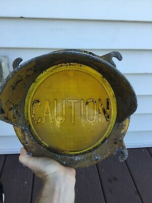 Crouse Hinds Caution Command Traffic Light Signal Lens Old Antique