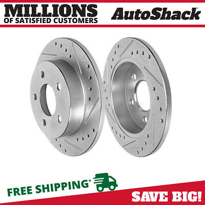 Rear Pair (2) Silver Drilled Slotted Rotors 5 Stud Fits 94-03 2004 Ford Mustang