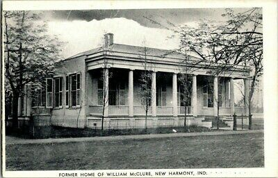 1930'S. Home Of William Mcclure. New Harmony, Ind. Postcard Sl7