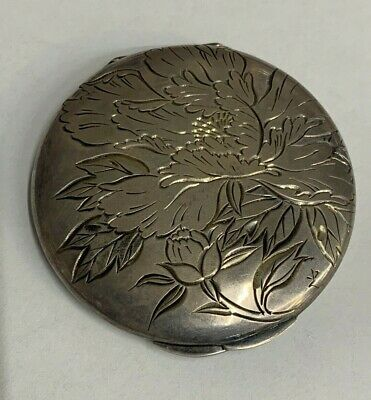 """Vintage COMPACT with INTACT MIRROR ~ Intricate Carved Floral Design """"26 Silver"""""""