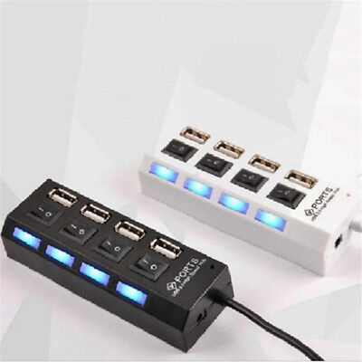 4 Port USB 3.0 Hub On/Off Switches + AC Power Adapter Cable for PC Laptop AB