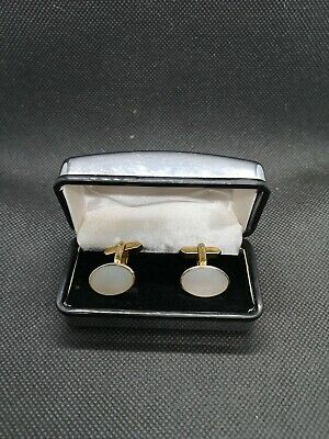 Vintage Mother Of Pearl Gold Tone Cufflinks Boxed Pearl Wedding Anniversary 30th