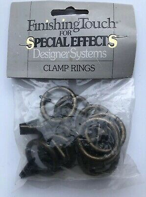 "Finishing Touch 1"" Brass Clamp Curtain Rings For 7/8"" Rod Or Smaller"