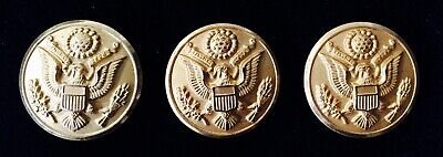 Vintage Set/9 Us Army Eagle Great Seal Brass Buttons Waterbury Button Co. Mint
