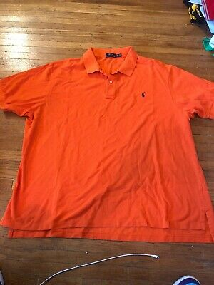 Polo Ralph Lauren Mens 3XB Orange Cotton Knit Polo Shirt Pony XXXB Big Nice