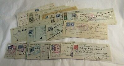 Early 1900s Large Lot 60 Canada Bank Cheques Checks w Revenue Stamps Cancels