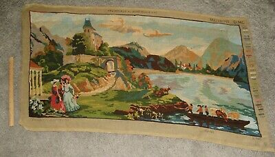 XL Gorgeous VINTAGE NEEDLEPOINT CANVAS DMC Victorian Ladies River & Mountains