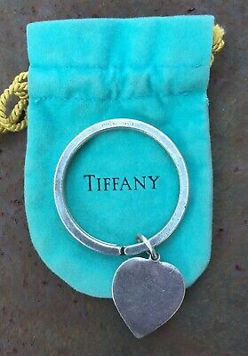 Vintage Tiffany & Co. Sterling Silver Classic Round Key Chain Ring with Heart