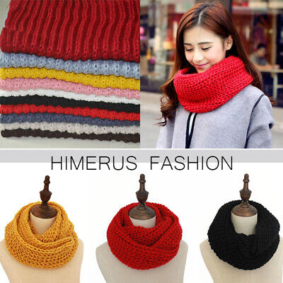 Women Winter Warm Infinity Circle Cable Knit Scarf Cowl Neck Scarves Shawl Wrap