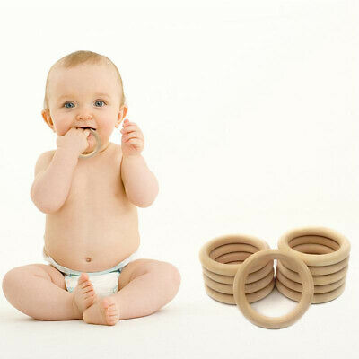 20Pcs Natural Wooden Baby Teether Ring Unfinished Wood Jewellery Craft H9S5N