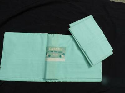 Vintage Cannon Double Flat Sheet & Pair Pillowcases~Jadeite Green~Mint Unused