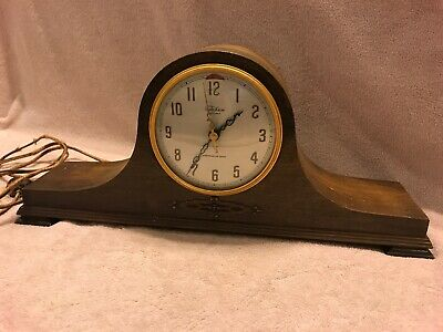 Working Antique Revere Clock Co. Telechrom motored wooden mantel clock chimes