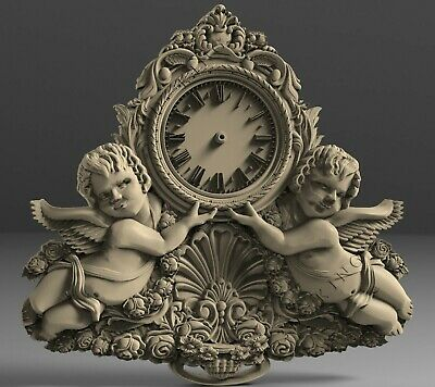 3D STL Models # WALL CLOCK TWO AMURS# for CNC 3D Printer Engraver Carving Aspire