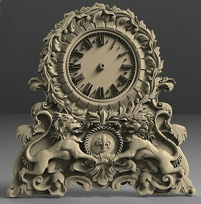 3D STL Models # WALL CLOCK TWO LIONS  for CNC 3D Printer Engraver Carving Aspire