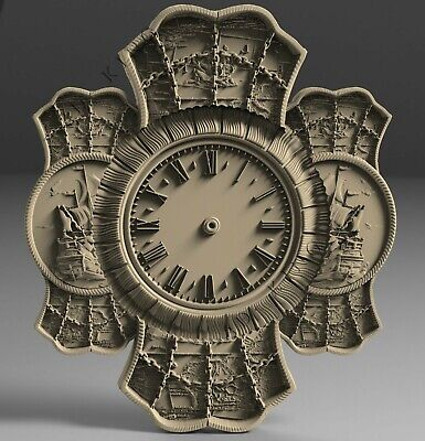 3D STL Models # WALL CLOCK TWO SHIPS # for CNC 3D Printer Engraver Carving