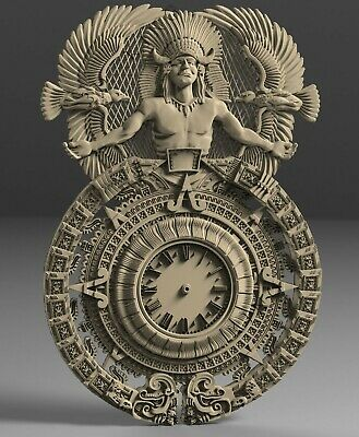 3D STL Models # WALL CLOCK MAYA CALENDAR # for CNC 3D Printer Engraver Carving