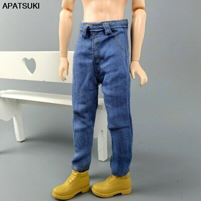 Blue 1/6 Boy Doll Clothes Hip Hop Denim Pants For Ken Doll Jeans Trousers Toy