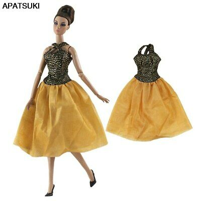 "Gold Brown Fashion Short Dress For 11.5"" Doll Clothes Outfit Party Princess Gown"