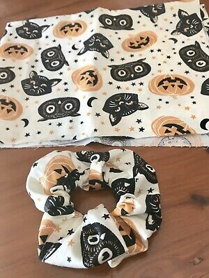 Halloween Scrunchie Ponytail Hair tie. Pumpkins, Owls and Black Cats Printed.