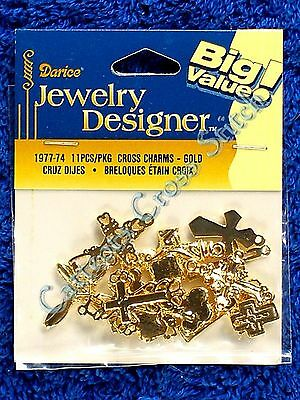 Embellishments / Accent / Charms 11 Gold Crosses Jewellery Cross