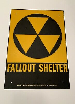 Vintage 1950s Fallout Shelter Cold War Metal Sign NEW OLD STOCK DOD Galvanized