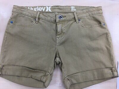 Hurley Womens Shorts Size 10 Tan Denim Roll Cuff Brand New without Tag