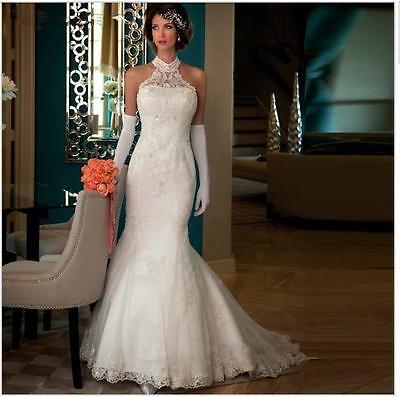 Lace Wedding Dresses Halter Sleeveless Court Train Mermaid