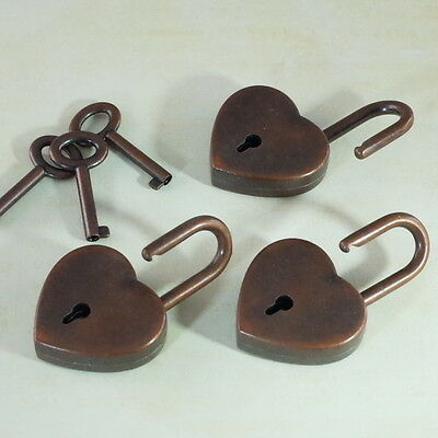 Old Antique Vintage Style Padlock Key Locks - Antique Copper (Lot of 3)