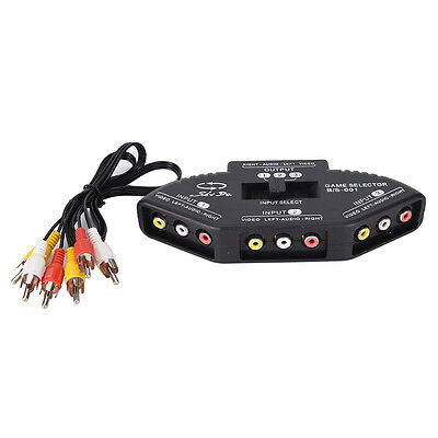 3-Way Audio Video AV RCA Switch Selector Box Composite Splitter + RCA Cable _WK