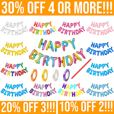 """Large 16"""", 'HAPPY BIRTHDAY' FOIL BALLOON, Bunting Banner, Self Inflating Letters"""
