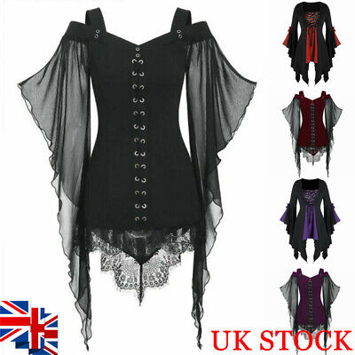 Women Halloween Gothic Shirt Top Steampunk Victorian Lace Up Flare Sleeve Blouse