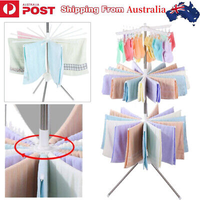 3 Tiers Clothes Line Airer Rack Indoor Steel Drying Space Foldable Portable