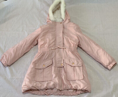 GIRLS size 7 Pink Parka  jacket coat padded with hood Fake fur Target NEW
