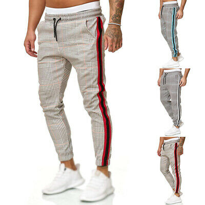 Mens Slim Fit Tracksuit Bottoms Skinny Jogging Joggers Sweat Pants Trousers 2019