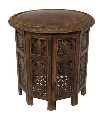 Cotton Craft Jaipur Solid Wood Hand Carved Accent Coffee Table - 18 Inch Round x