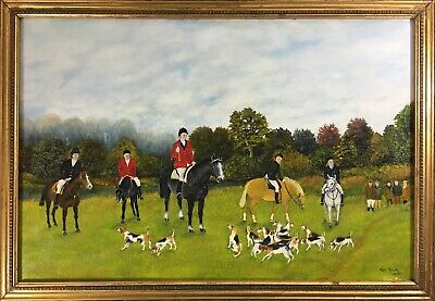 KEN SMITH: Large OIL Painting Fox Hunt EQUESTRIAN Signed Gilt Frame