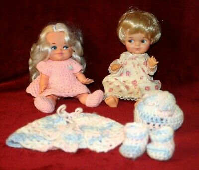 """""""E"""" Vintage Plastic / Rubber Baby Dolls TWO DOLLS  9"""" With Crochet Outfits"""