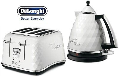 Delonghi Brillante Kettle and Toaster Set White Kettle & 4-Slot Toaster - New